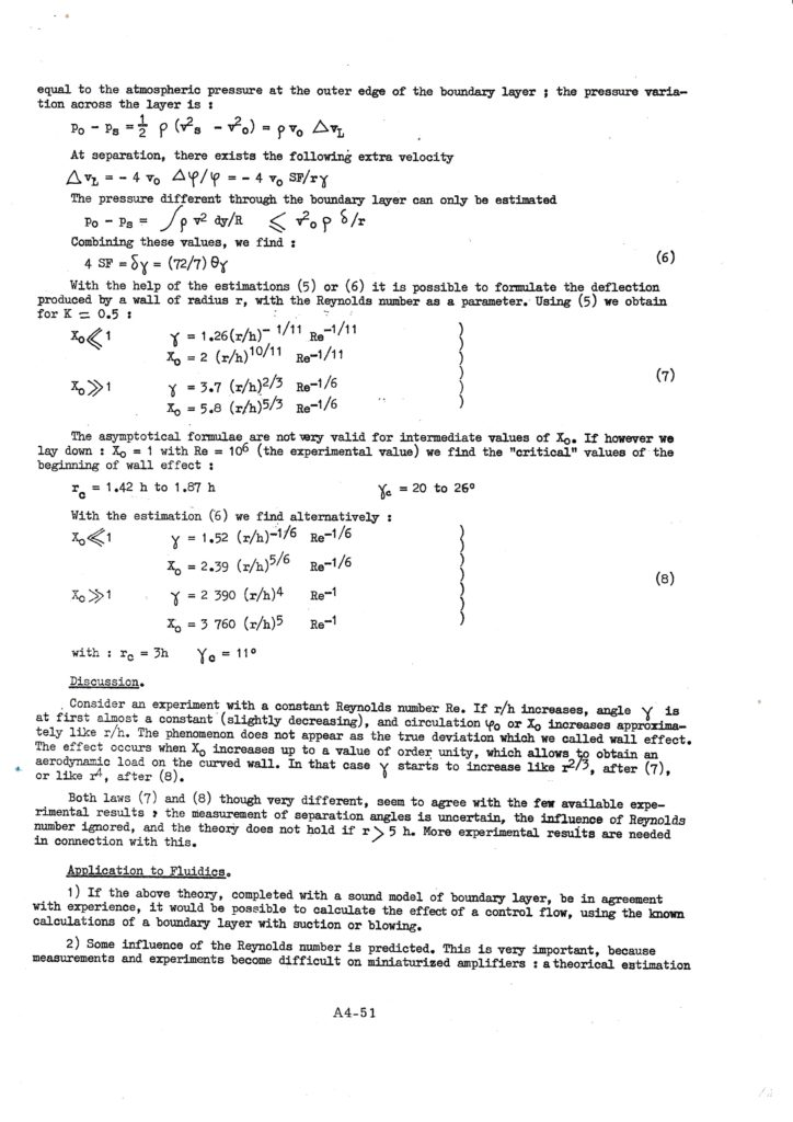 The curved wall effect, Cambridge Fluidics conference, 5/01/1967