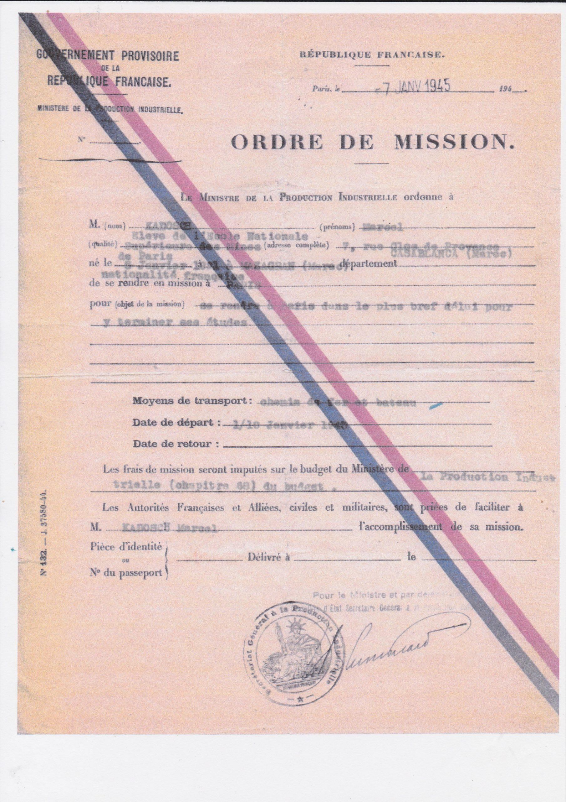 Ordre de mission du Ministère de la Production Industrielle