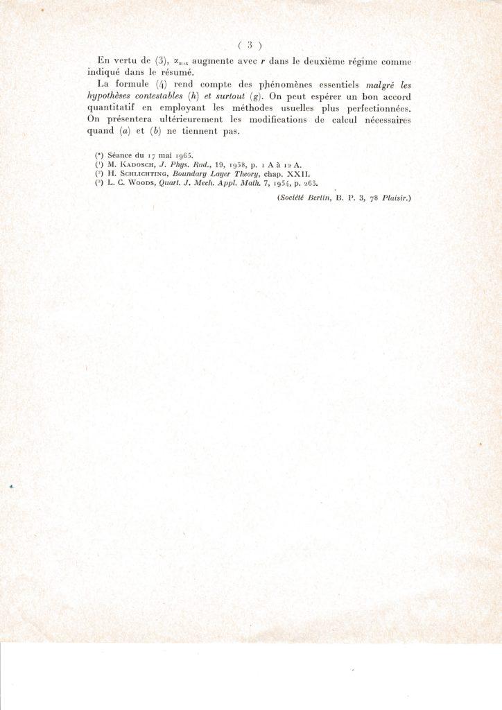 Note à l'Académie des Sciences, séance du 17/05/1965