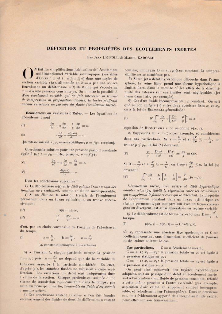 Définition et propriété des écoulements inertes. Par Jean Le Foll et Marcel Kadosch. p. 137