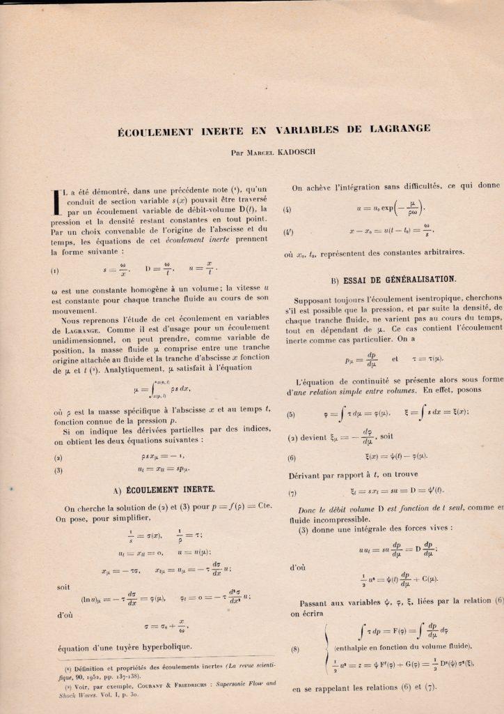 Ecoulement inerte en variables de Lagrange. Par Marcel Kadosch. p. 138