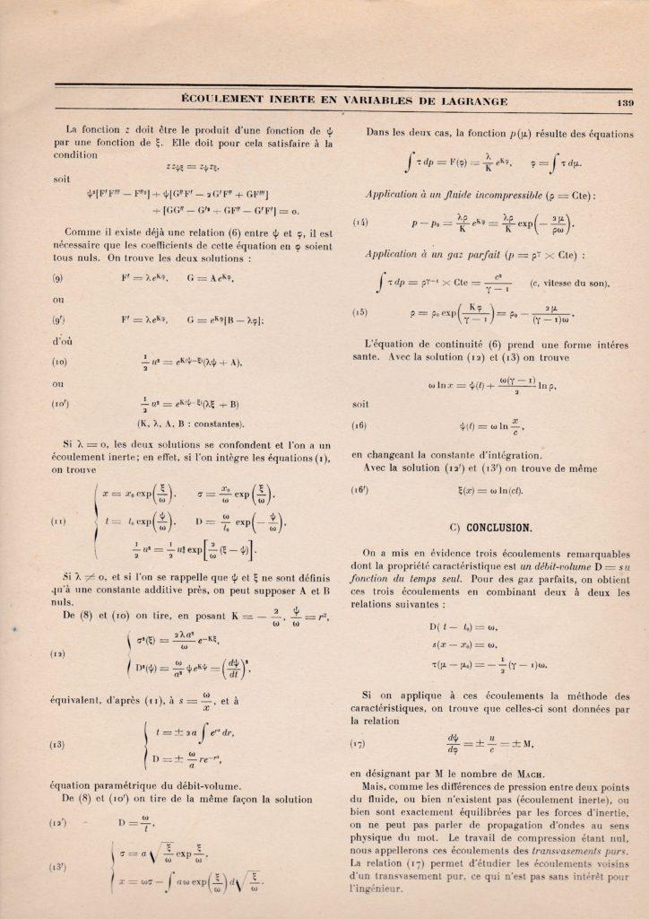 Ecoulement inerte en variables de Lagrange. Par Marcel Kadosch. p. 139